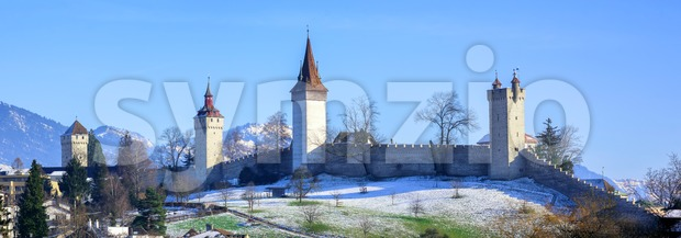 Medieval city walls with towers in Lucerne, Switzerland Stock Photo
