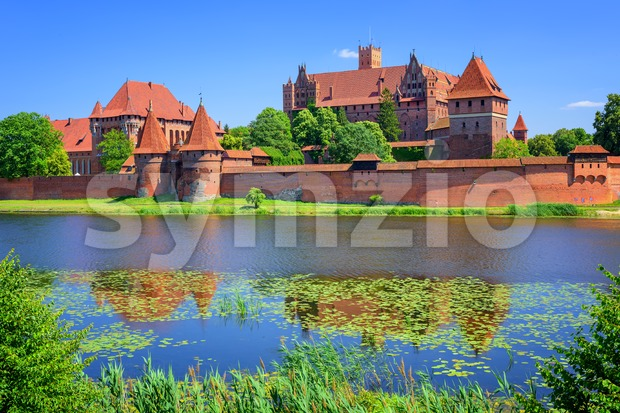 The Castle of the prussian Teutonic Knights Order in Malbork, Poland Stock Photo