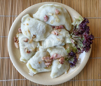 Traditional polish Pierogi dumplings Stock Photo
