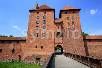 Red brick towers of the Teutonic Order Castle, Malbork, Poland Stock Photo