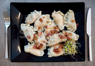 Traditional polish Pierogi stuffed dumplings Stock Photo