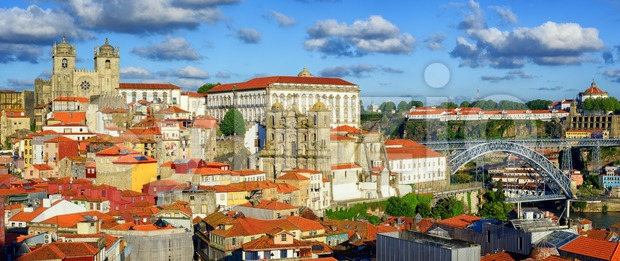 Panoramic view over the old town of Porto, Portugal, with the cathedral, Dom Luis I Bridge, Serra do Pilar monastery ...