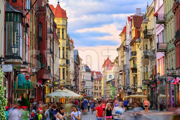 Crowded pedestrian street in european town Torun, Poland Stock Photo