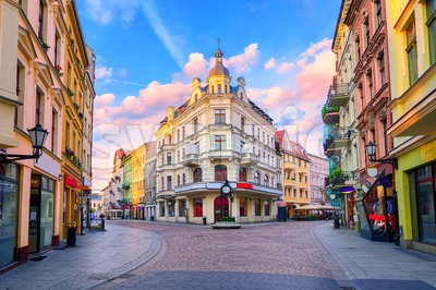Central pedestrian street in Torun, Poland Stock Photo