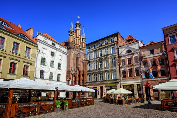 Gothic facades on the central square in Torun, Poland Stock Photo