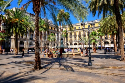 Plaza Reial, Barri Gotic, Barcelona, Spain Stock Photo