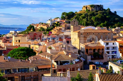 Medieval castle in Begur town, Catalonia, Spain Stock Photo