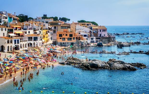 Sand beach in Calella de Palafrugell, a popular resort town on Costa Brava, Catalonia, Spain Stock Photo