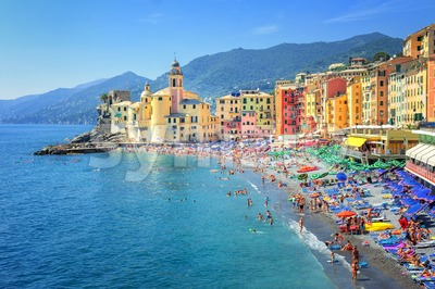 Sand beach in Camogli by Genoa, Italy Stock Photo