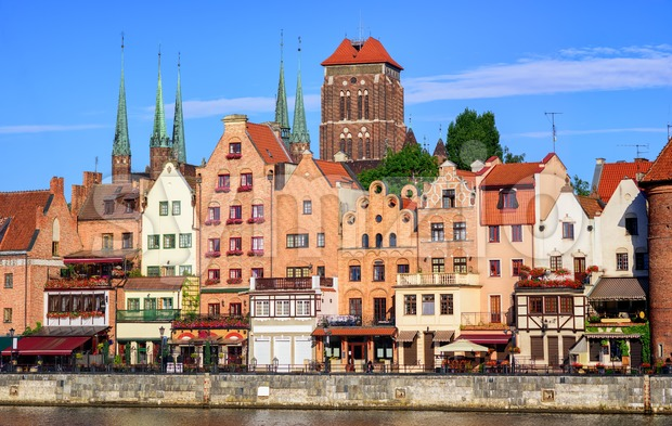 Gothic houses and cathedral in old town of Gdansk, Poland Stock Photo