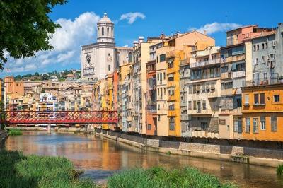 Cityscape of Girona, Catalonia, Spain Stock Photo