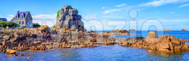 Panoramic view of the rocky atlantic coast of English Channel by Plougrescant, Brittany, France