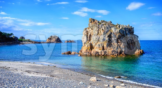 White stone beach on Pink Granite Coast, Brittany, France Stock Photo