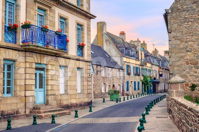 Stone houses on a street in Roscoff, Brittany, France Stock Photo