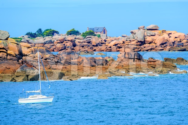 Pink Granite Coast, Brittany, France Stock Photo