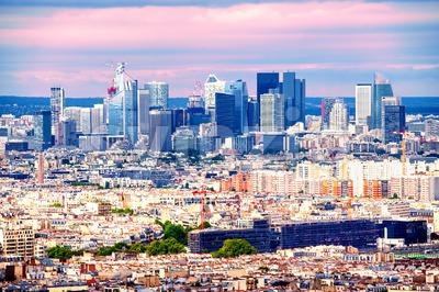 Skyline of La Defense, Paris, France Stock Photo
