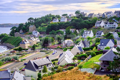 Cottages in Perros-Guirec, Brittany, France Stock Photo