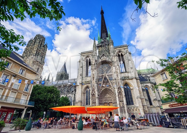 Gothic catholic cathedral Notre Dame of Rouen, Normandy, France Stock Photo
