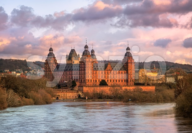 Renaissance castle Johannisburg on Main river, Aschaffenburg, Germany Stock Photo