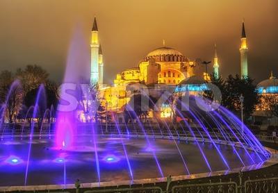 View of Hagia Sophia from Sultanahmet park, Istanbul, Turkey Stock Photo