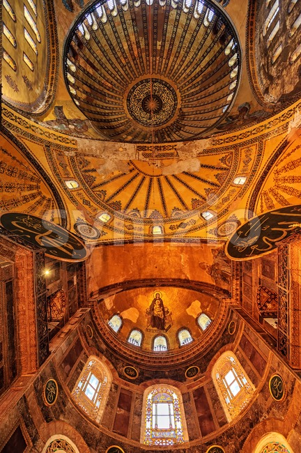 The paintings of the Dome of Hagia Sophia, historical main cathedral of Byzantine Empire and later ottoman mosque, Istanbul, Turkey