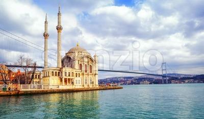 Ortakoy mosque and Bosphorus Bridge, Istanbul, Turkey Stock Photo