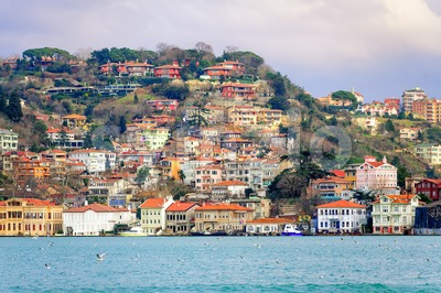 Houses on a hill over Bosphorus, Istanbul, Turkey Stock Photo