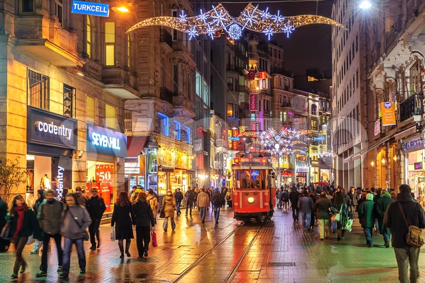 Istanbul Nostalgic Tramway on Istiklal Street at night, Istanbul, Turkey Stock Photo