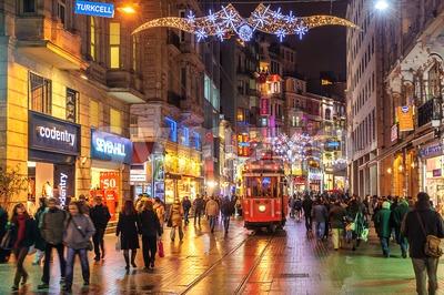 Istanbul Nostalgic Tramway on Istiklal Street at night, Istanbul, Turkey Stock Photo