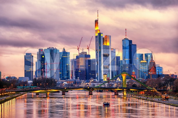 Skyline Frankfurt on Main, Germany Stock Photo