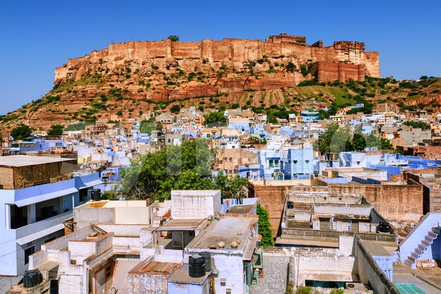 Mehrangarh Fort, blue city of Jodhpur, India Stock Photo