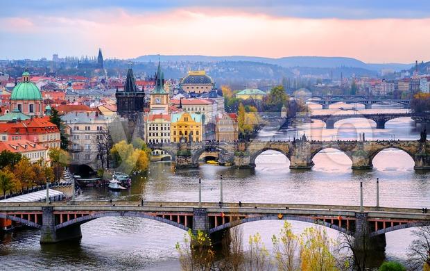 Old town and the bridges, Prague, Czech Republic Stock Photo