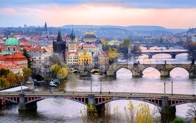 Old town and the bridges, Prague, Czech Republic Stock Photo