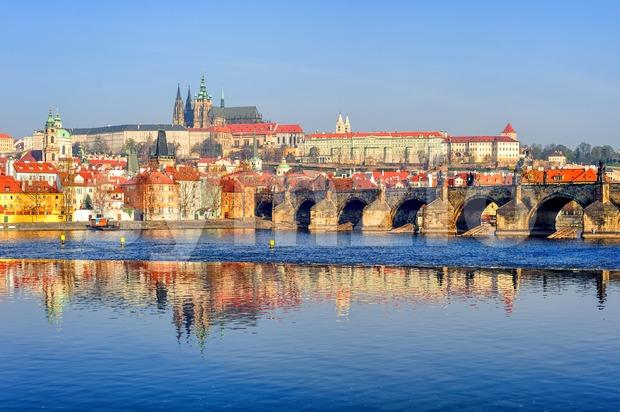 The Prague Castle and Charles Bridge, Prague, Czech Republic Stock Photo