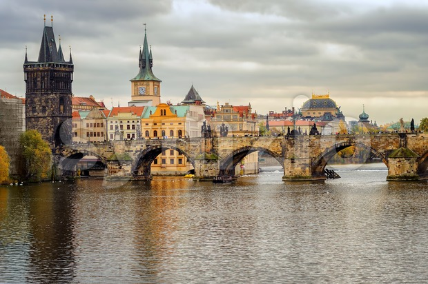 Charles Bridge and the old town of Prague, Czech Republic Stock Photo
