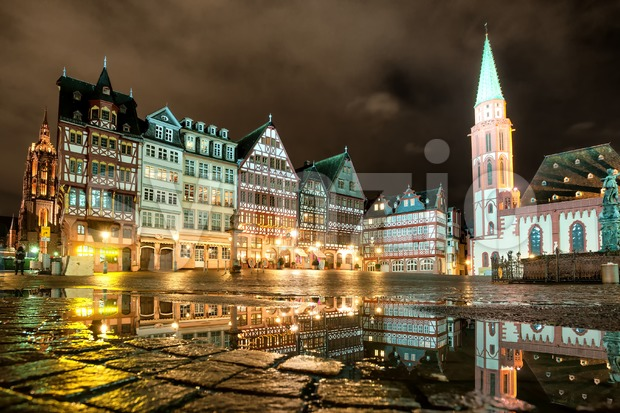 Old town of Frankfurt on Main at night, Germany Stock Photo