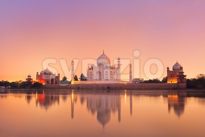 Taj Mahal in Agra, India on sunset Stock Photo