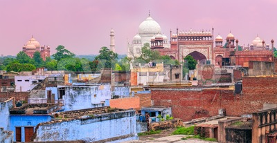 Old town of Agra with Taj Mahal, India Stock Photo