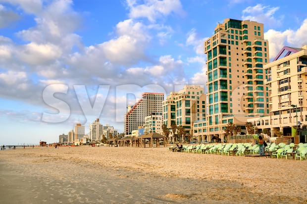 Hotels facing mediterranean sand beach in the center of Tel Aviv, Israel