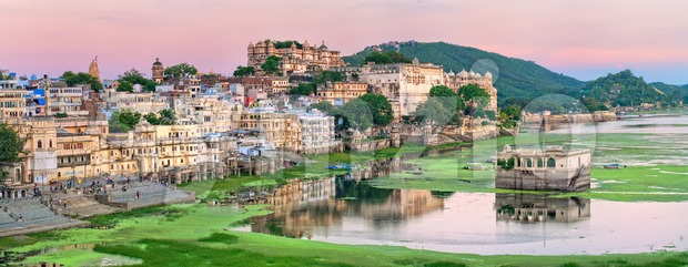 View of Udaipur, India, on sunset Stock Photo
