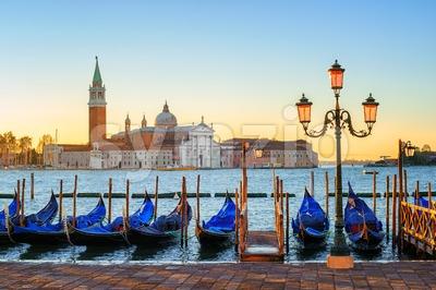 Gondolas and San Giorgio Maggiore island, Venice, Italy Stock Photo