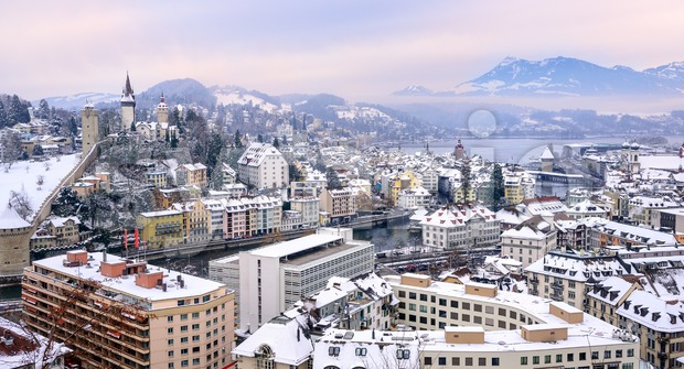 Lucerne, Switzerland, aerial view of the old town, city wall towers, lake Lucerne and Rigi mountain in background