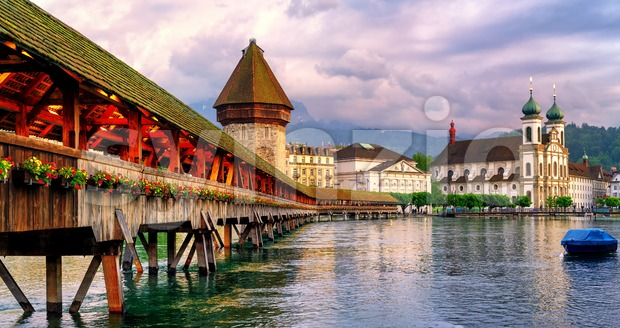 Panoramic view of the Chapel Bridge in Lucerne, Switzerland Stock Photo