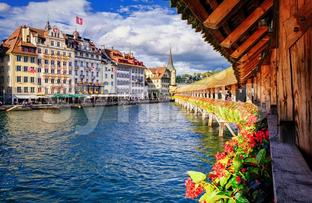 Lucerne, Switzerland, view from the famous wooden Chapel Bridge to the old town Stock Photo