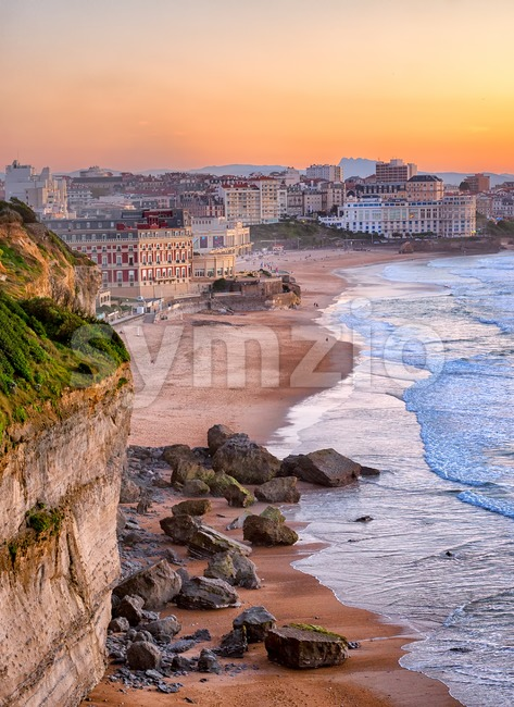 Sunset over Biarritz beach, France Stock Photo