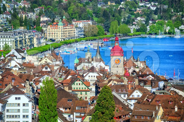 Lucerne, Switzerland, aerial view over old town to the lake Stock Photo