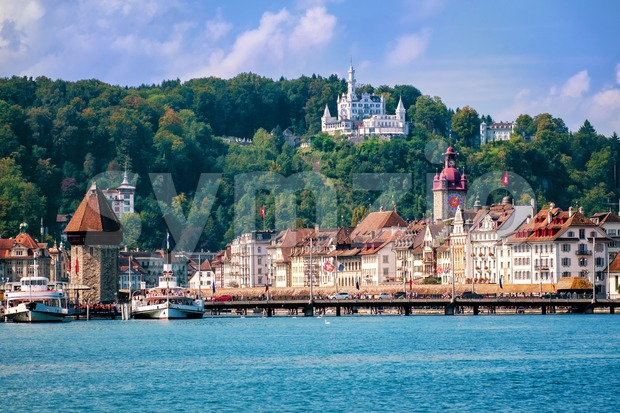 Luzern, Switzerland, view of the old town from Lake Lucerne