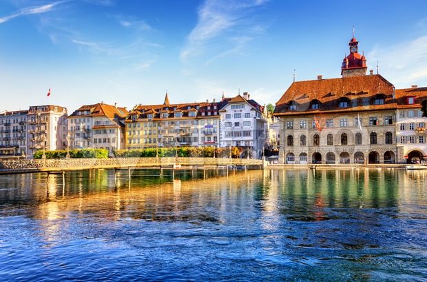 Lucerne, Switzerland, view of the old town with Town Hall and Reuss river Stock Photo