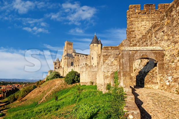 The walled medieval fortress Cite de Carcassonne, Languedoc, France, is on UNESCO World Heritage Sites list