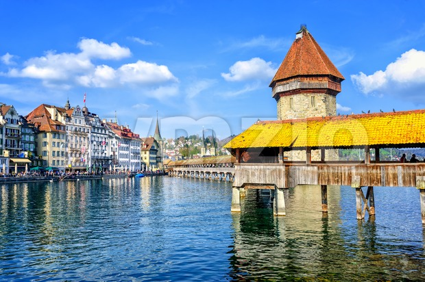 Lucerne, Switzerland, cityscape with wooden Chapel bridge and Water tower Stock Photo